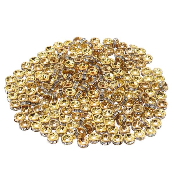 200st rhinestone spacer pärlor 5/7 / 8mm fit kvinnor DIY smycken mak Gold 5mm