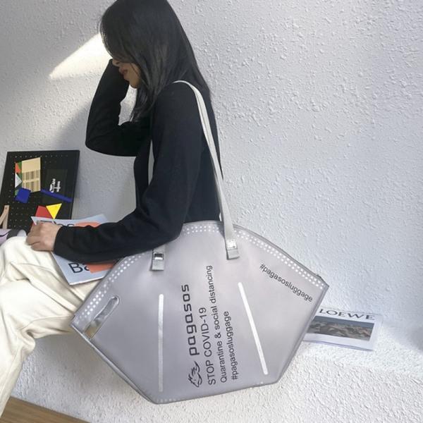 2021 Nytt mode Kvinnor Stor mask Shoppingväska Canvas Axel
