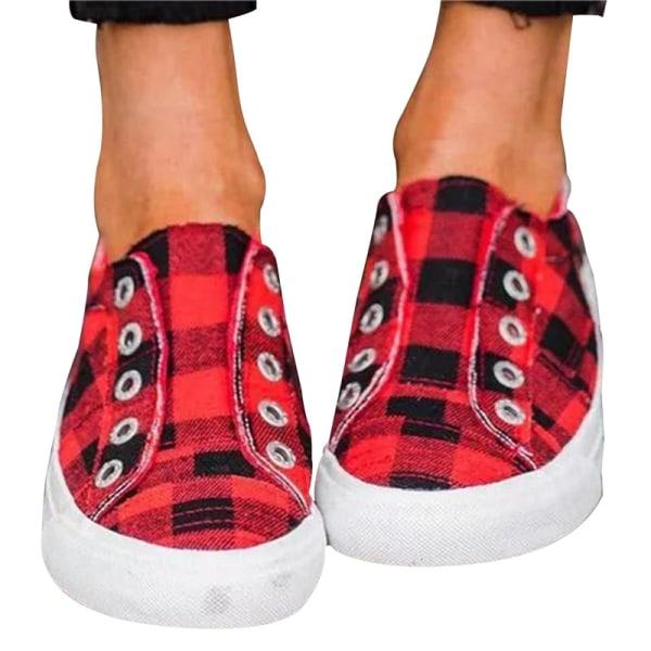 2021 Vår Damskor Sneakers Casual Komfort Flats Pläd