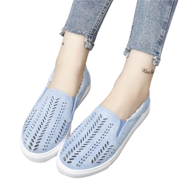 2021 Kvinnor Slip On Sneakers Grunt Loafers Damskor Andning