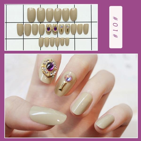 24st Butterfly Pearl Diamond Long False Nails Art Full Cover T