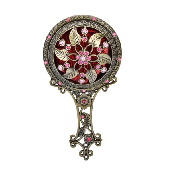 2PCS Bronze Handheld Mirrors Hollow Cosmetic Compact Mirror Com Bronze