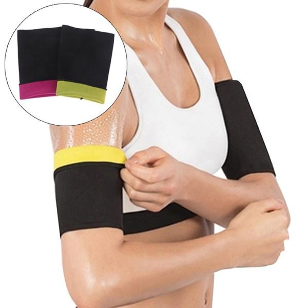 2Pcs/Set Arm Slimming Shaper Slimmer Wrap Belt Shape Sleeve Ela Rose red M