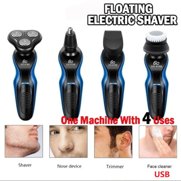 4-in-1 Electric Shaver Razor Waterproof Cordless Rechargeable H 4 IN 1