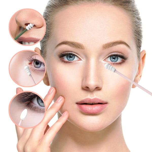 4pcs Reusable Cotton Swab Double-ended Eyelash Extension Glue R Pink