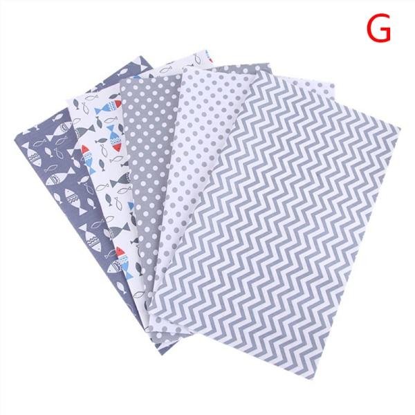 5/6Pcs DIY Colourful 100% Cotton Fabric Assorted Pre-Cut Fat Qu G 50*40CM 5pcs