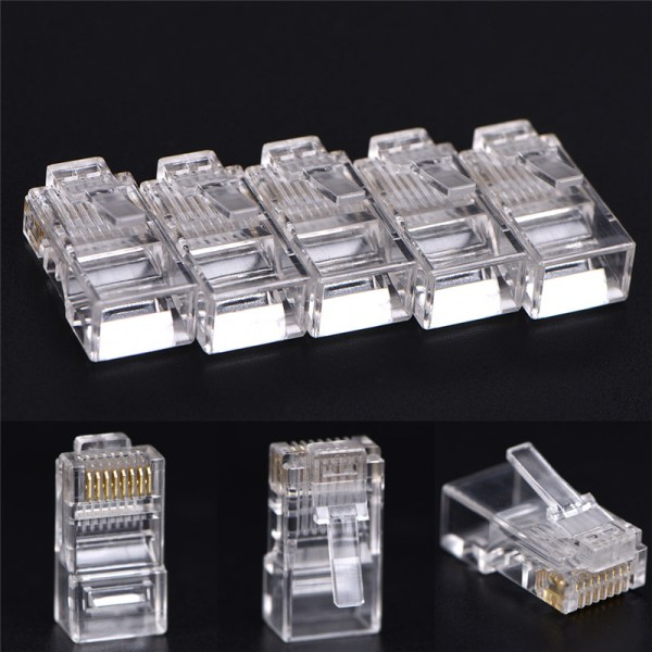 50 PCS RJ45 CAT5 Crystal Network Modular Connector Plug 8P8C Fo