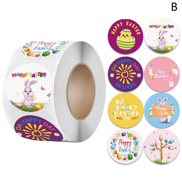 500Pcs Happy Easter Stickers Cake Baking Labels Easter Party Gi B 3.8cm