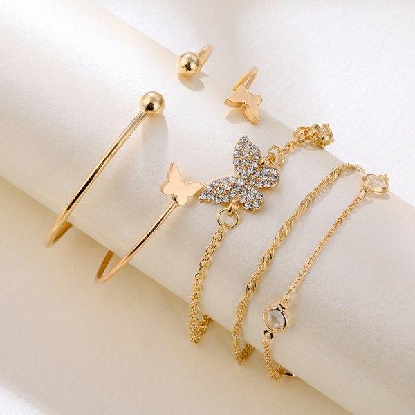 5PC New Bohemian Elegance Open Bracelets Rhinestone Butterfly B