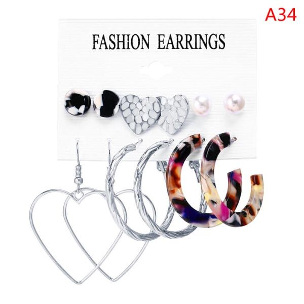 6st mode guld pärlörhängen för kvinnor vintage metall hoo A34