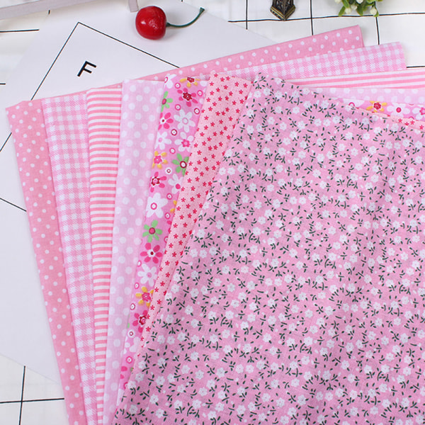 7Pcs DIY Colourful 100% Cotton Fabric Assorted Pre-Cut Fat Quar G 25*25cm 7pcs