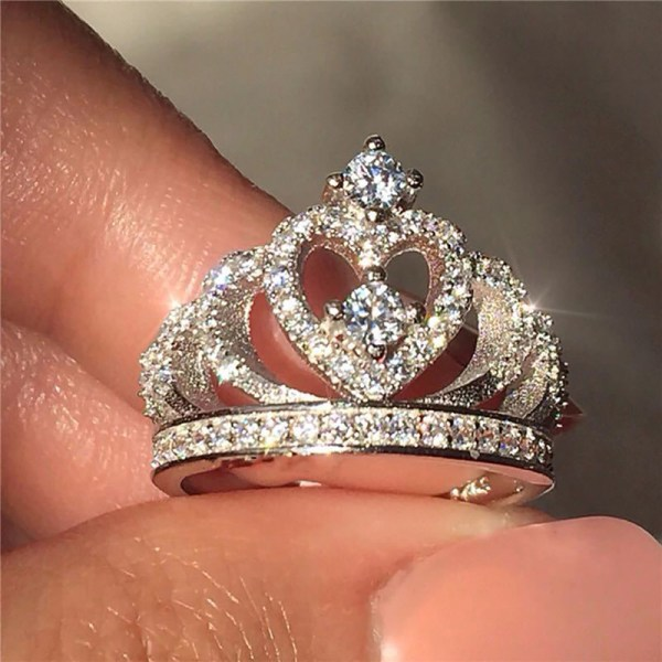 925 silver trendiga smycken brud bröllop cubic zirconia krona eng