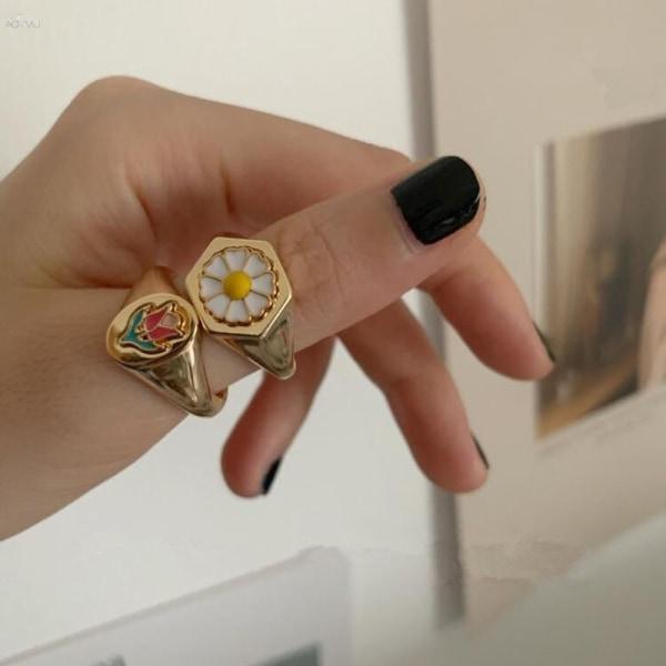 925 sterling silver korean färgstark blomma ring kvinnliga mode r