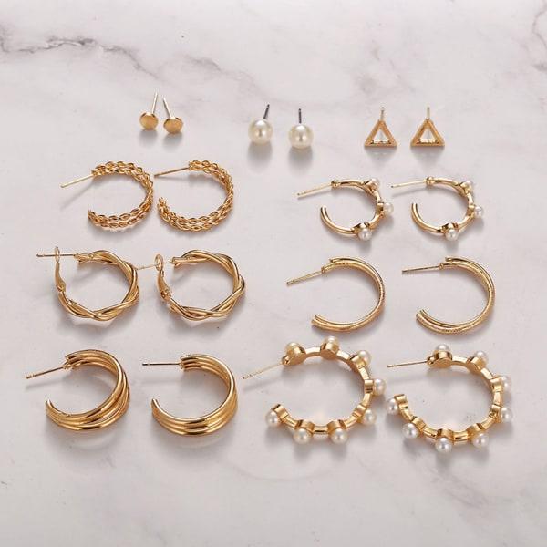 9st örhängen uppsättning kreativa damer c-formade pärlring örhänge