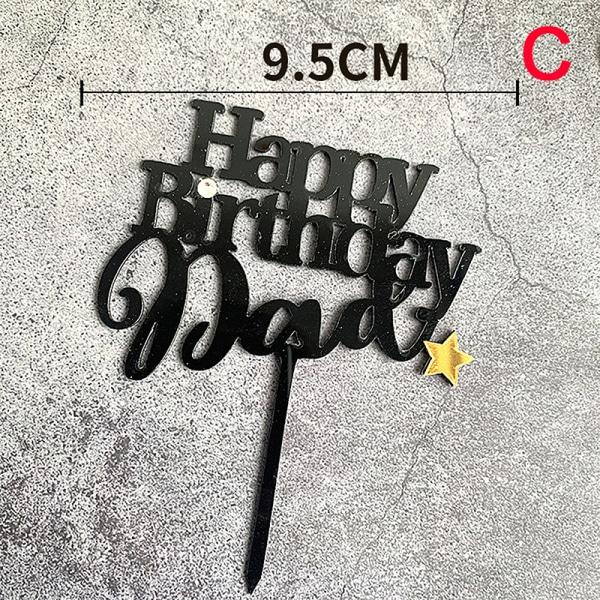 Acrylic Mother Daddy Happy Birthday Cake Topper Cupcake Baking  G