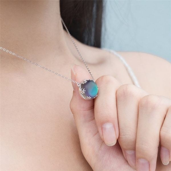 aurora hängsmycke halo kristall ädelsten s925 silverskala