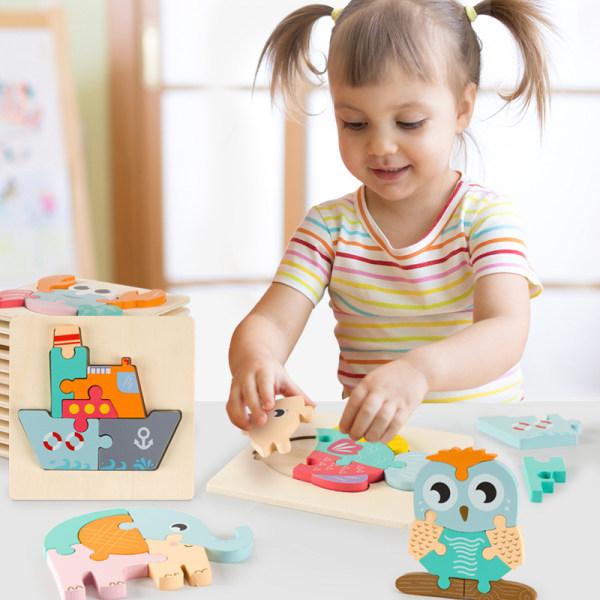 Baby 3D trä pussel pedagogiska leksaker barn tecknad djur inte
