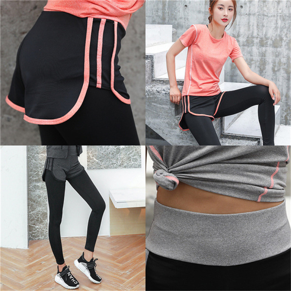 Breathable fitness pants quick drying elastic anti light fake t Dark Grey XXXL