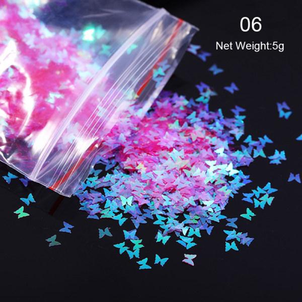 Butterfly Heart Nail Art Glitter Micro Laser Star Flakes 3D Sil