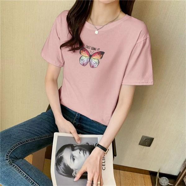 Butterfly print cotton short-sleeved t-shirt top women summer purple L