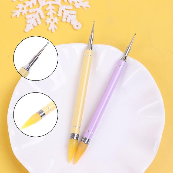Godisfärg Nail Art Set Diamantpenna Dubbelpunktspetspenna