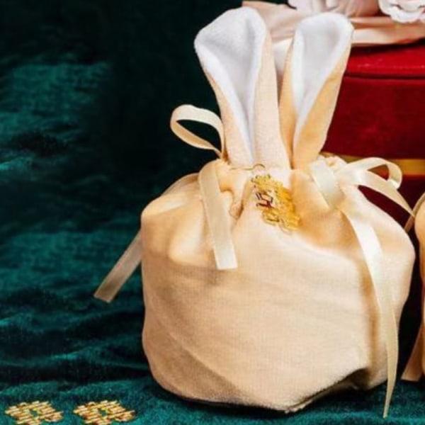 Tecknad kaninöron sammet påsar bakning godis kaka Packa