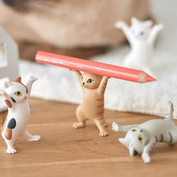 Cat Pen Pencil Holder Små saker Örhängen Holder Heminredning Cat