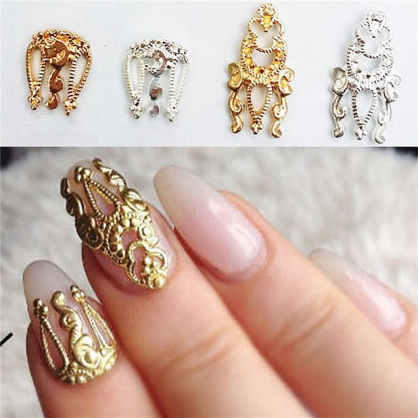 Charm 10st 3D Hollow Nail Art Alloy Tips Dekoration Smycken Gl