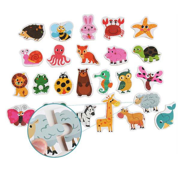 Barn som matchar pussel Djurfrukter Lärande leksaker för barn
