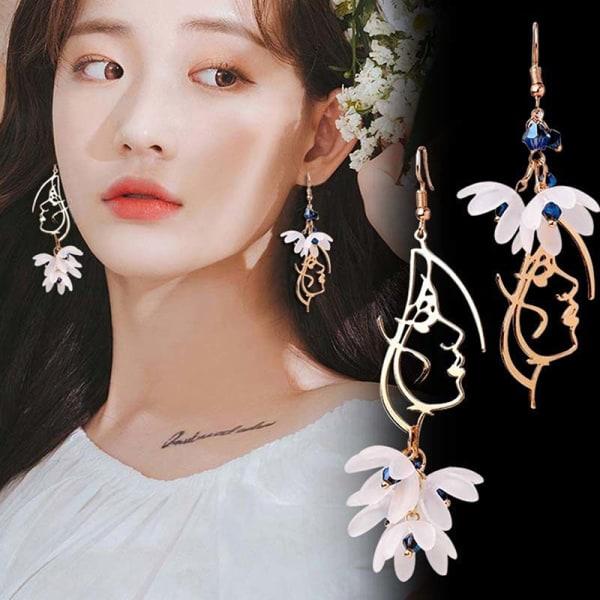 kreativa asymmetriska ansikte blomma tofs örhängen droppe dingla kvinnan