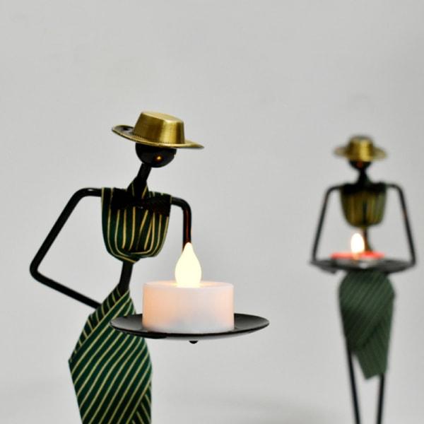Kreativa Iron Ljusstake Metall Ljusstake Art Waitress Home