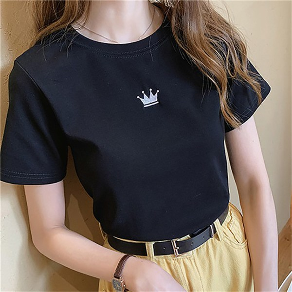 Crown embroidered solid color T-shirt short pink M