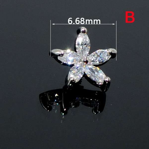 crystal opal broskörhängen blomma månen helix tragus örat paj