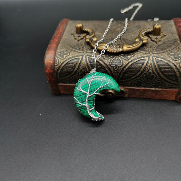 kristall hänge livets träd månform reiki polerad m