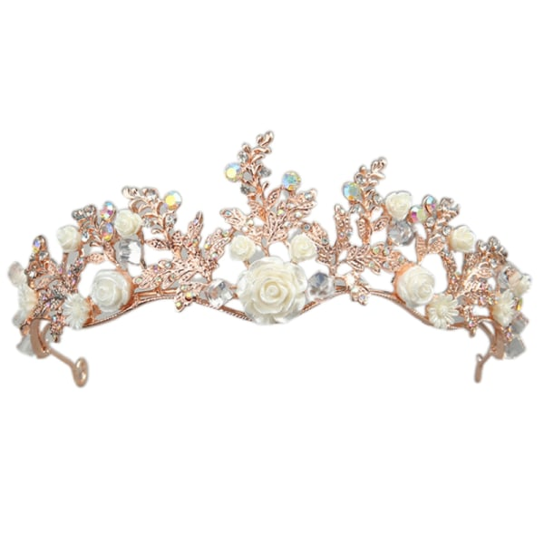 Crystal Tiara Gold Wedding Crown Baroque Rhinestone Bride Hair