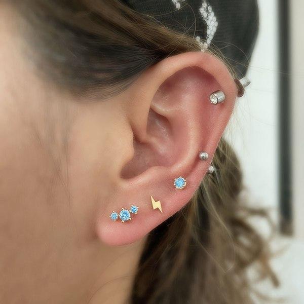kristall tragus helix brosk örhängen rostfritt stål bar