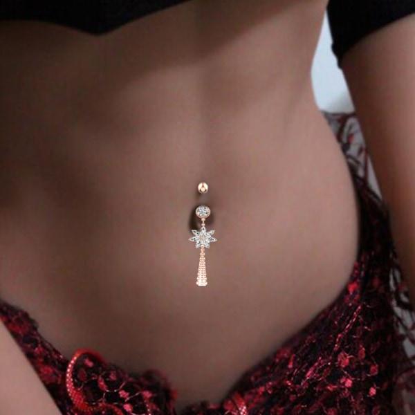kristall zirkon blomma dingla knapp navel piercing ring mage ri