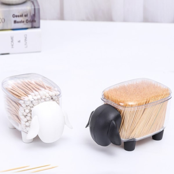 Cute Toothpick Holder Container Cotton Swab Box Transparent Box White