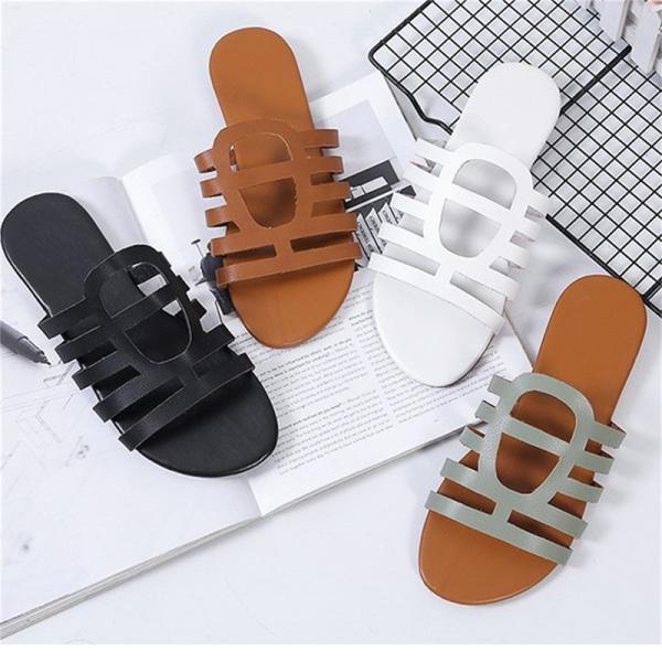 dam tofflor retro remmar platta skor sandaler beach sildes ca White 36