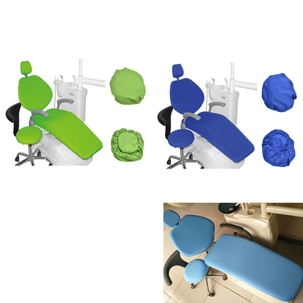 Dental Unit Chair Cover Pu Dentist Chair Stool Seat Cover Water Dark blue