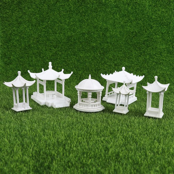 dockhus mikrolandskap mini monterad paviljong vit kupol pav
