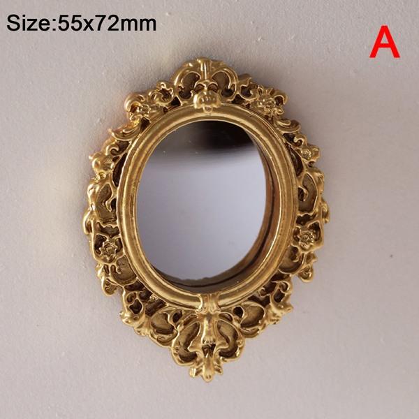 dockhus mini retro spegel snidning ram europeisk stil möbler