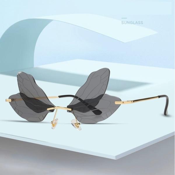 mode trollslända solglasögon kvinnor kantlösa våg glasögon lyx t