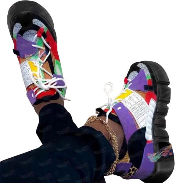 Mode Kvinnliga vårsommar Sneakers Färgskor spetsplattform