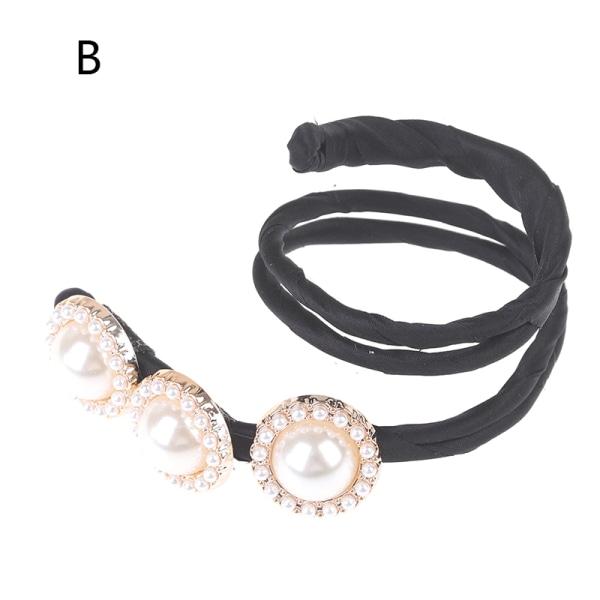 Fashion Flower Pearl Hairpin Bun Maker Twist Headband Lazy Hair