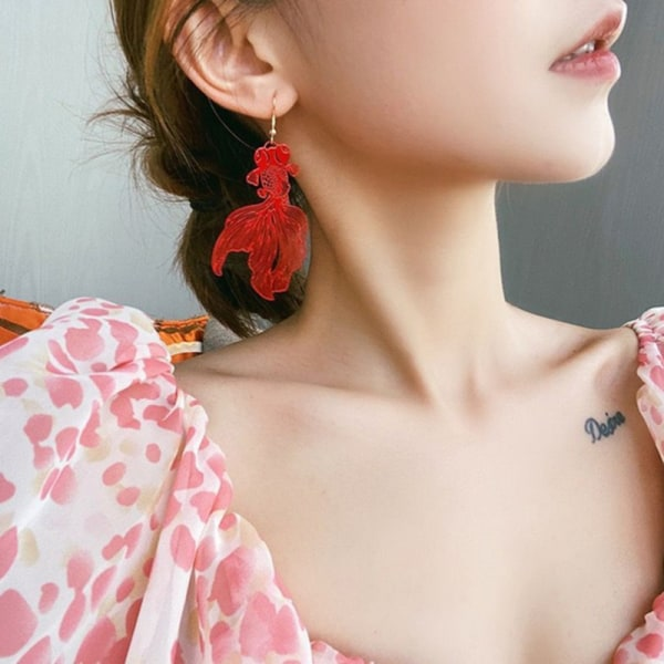 Fashion Koi Earrings Pendant Hollow Goldfish Drop Earring for W Red Clip Earrings
