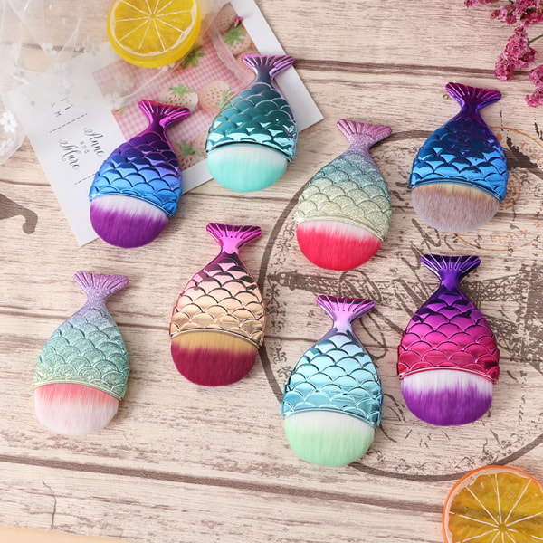 Fish Tail Gradient Color Soft Hair Nail Dust Cleaning Brush Man