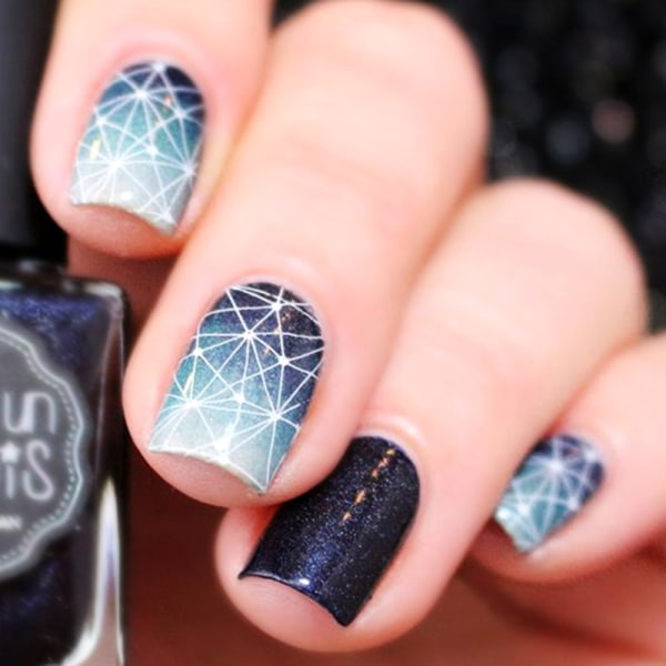 Guld 3D Nail Stickers Geometrisk Moon Star Stripes Wave Line Nai