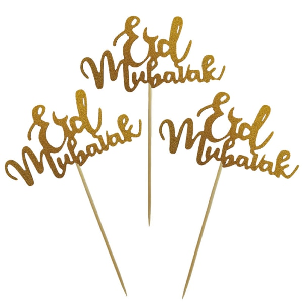 Guld Silver Glitter Eid Mubarak Cupcake Toppers EID Ramadan Fes