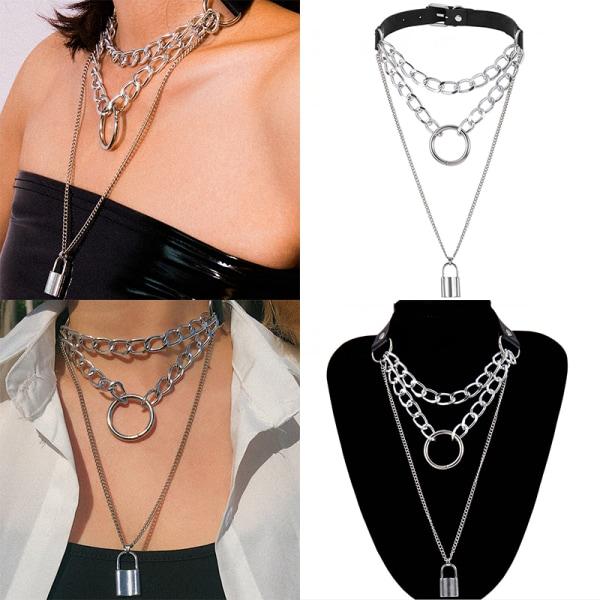 Gothic Lock Chain Necklace Multilayer Punk Choker Collar Pendan White